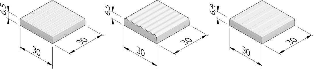 Betonnen geleidelijntegels | 7 ribbels | 7 golven | 4 brede ribbels