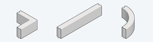 opsluitbanden: hoekstuk   rechte band   bochtband