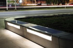 betonnen zitelement met led-verlichting