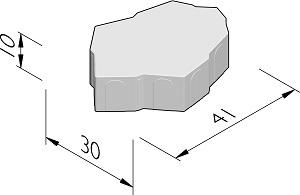 Technische tekening van de Zarafa parksteen. Een betonsteen met organische vorm.