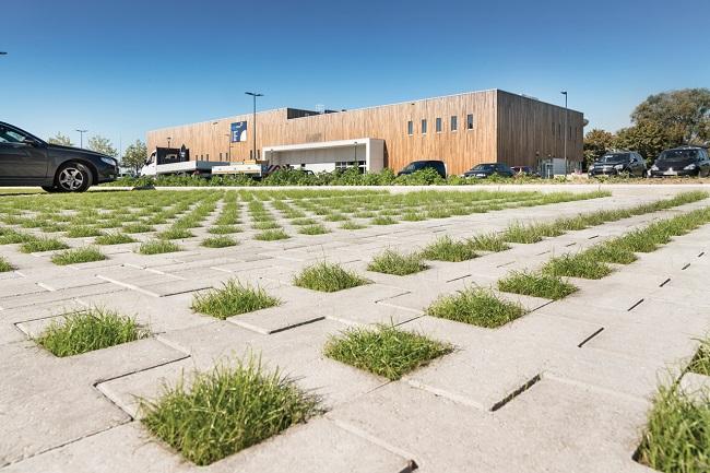 betonstraatstenen met gras