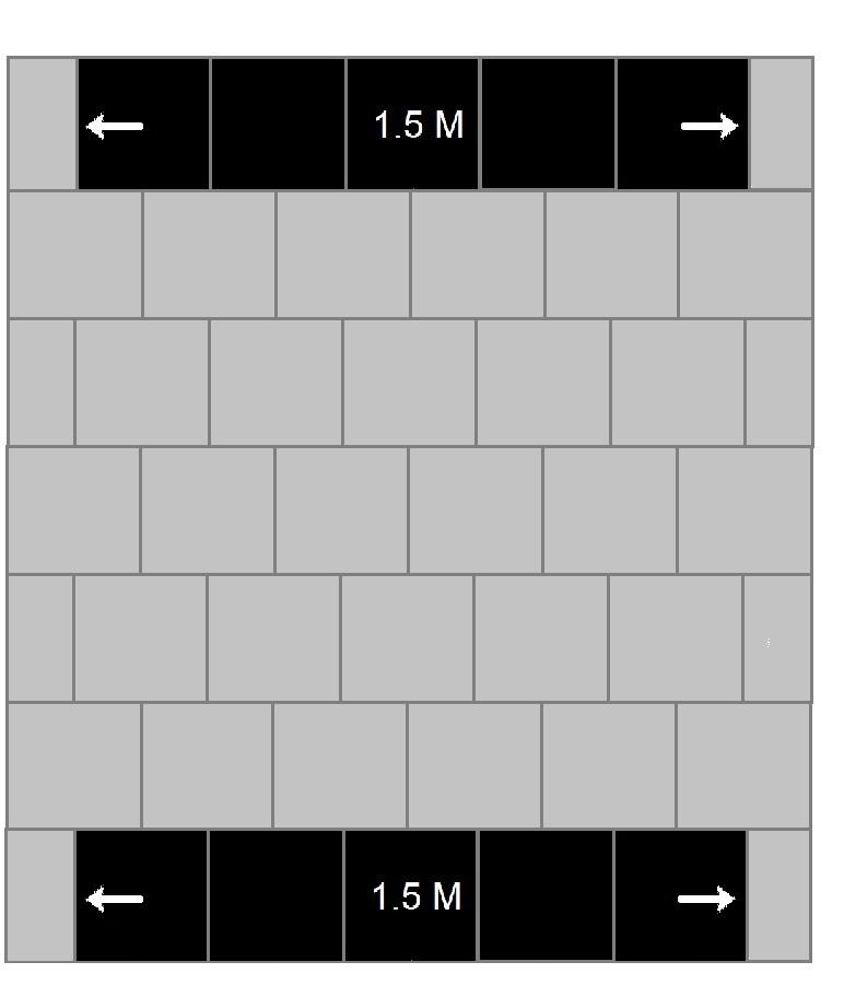anderhalve meter markering geheel zwart