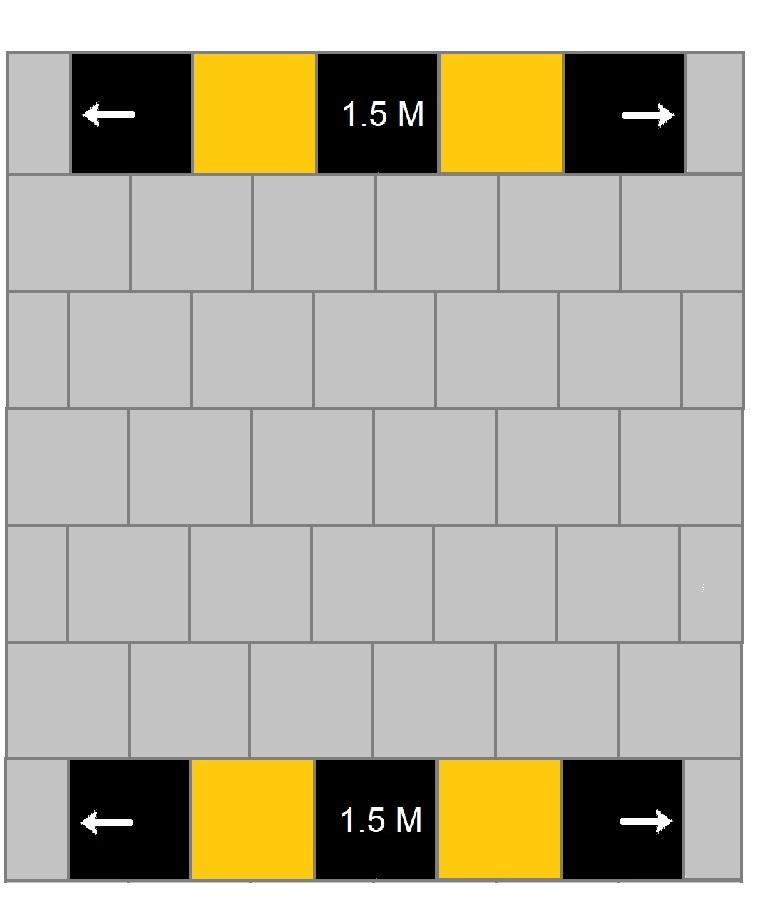anderhalve meter markering geel-zwart
