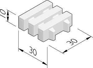 Hydro Lineo blok | grasbetontegel 30x30x10 cm