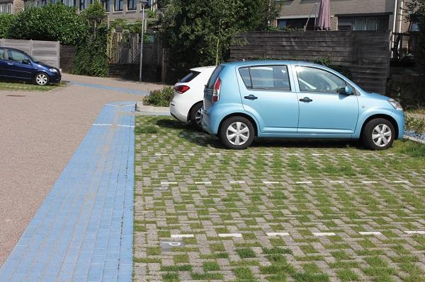 Groene parkeervakken met Greenbrick grasbestrating.