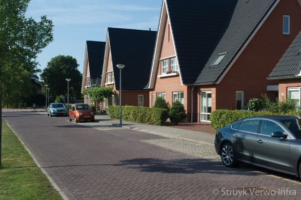 Uitgewassen bruine bestrating in woonwijk|bestrating erftoegangsweg