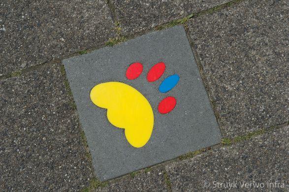 Kleurrijke symbooltegels in de stoep|kindvriendelijke schoolroute