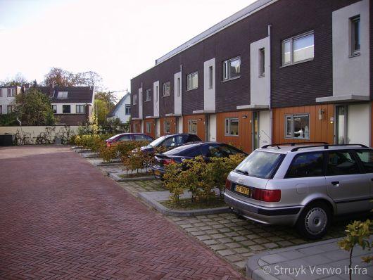 Parkeerplaats voor woning met groenbestrating
