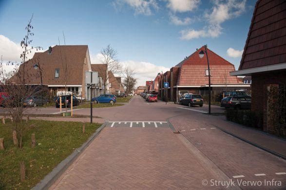 bestrating in elleboogverband|Woonwijk Vathorst in Amersfoort|keranova rossa|alternatief gebakken klinker