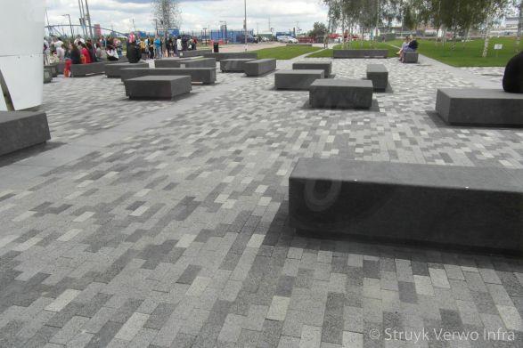 Kleurenmix in betonnen bestrating|Betonstraatsteen gewassen |deklaag steen
