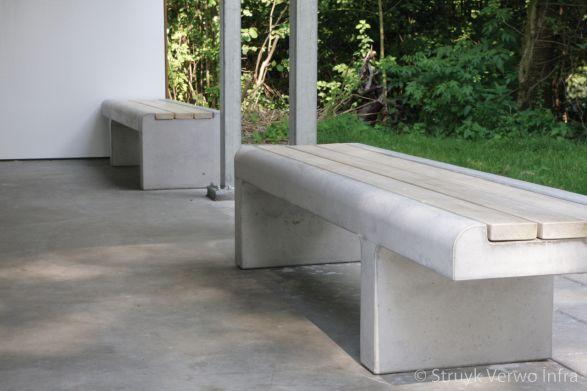 Link banken met hout - Maarssen|parkmeubilair beton|zitbank beton