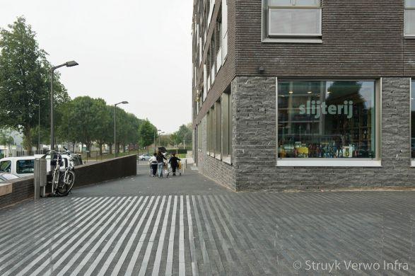 Bestrating strokenpatroon Malbergplein Maastricht|Breccia betonstenen|gewassen betonklinkers