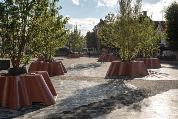 Herinrichting plein Damsterdiep Groningen met mixbestrating|kleurrijke bestrating