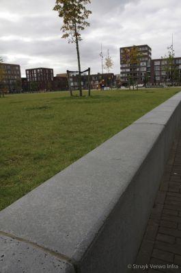 Gestraalde keerelementen|Theo van Goghpark IJburg Amsterdam|maatwerk beton