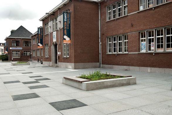 Gewassen stenen grijs en zwart op schoolplein