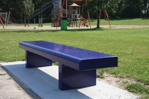 Link bank 250 blauw met anti graffiti coating|gekleurde parkbank