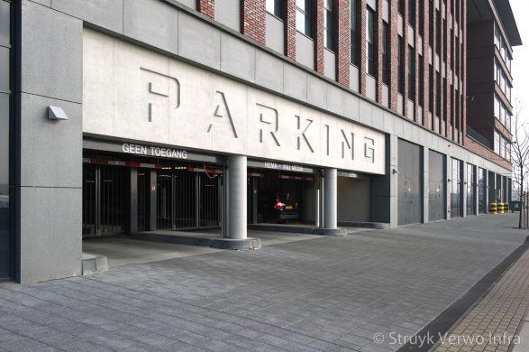 parkeergarage|parking|breccia tegel antracite 620|uitgewassen tegel|