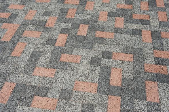 Mix bestrating|diverse kleuren bestrating door elkaar|betonstraatsteen Breccia