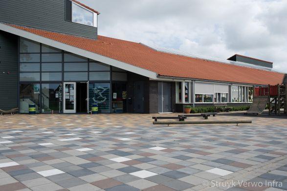 Mozaïek in bestrating op schoolplein|gekleurde betontegels