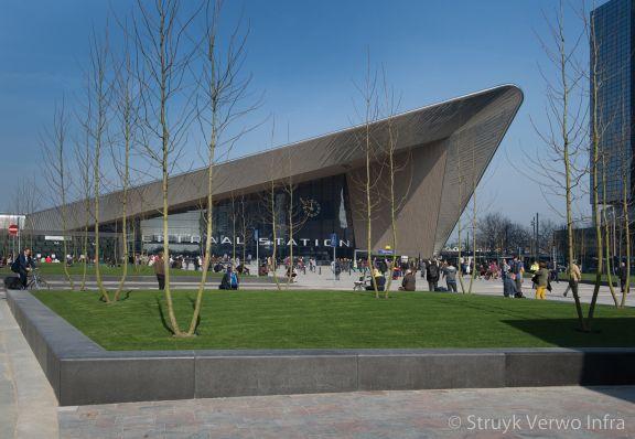 Betonband gepolijst|groenomranding|parkbanden|Rotterdam Centraal Station
