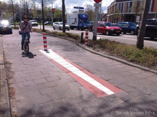 Inleidende fietspaalmarkering