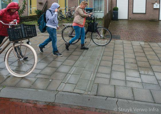 Goten voor afvoer hemelwater in trottoirtegels