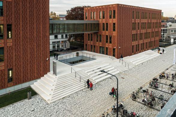 Traptreden van beton voor ingang scholencomplex|herinrichting schoolplein
