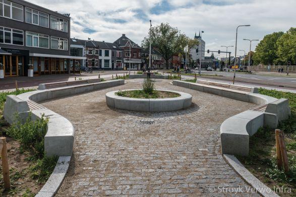Zitelementen op plein in Tilburg|betonnen buitenmeubilair