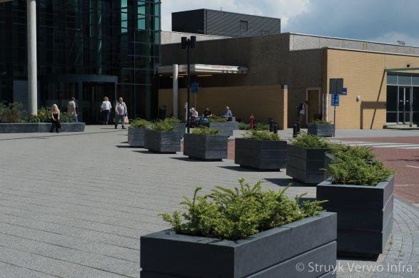 Bloembak beton langs de weg|plantenbak beton