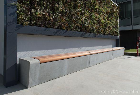 Betonnen bank met 100% FSC hardhout|groenomranding