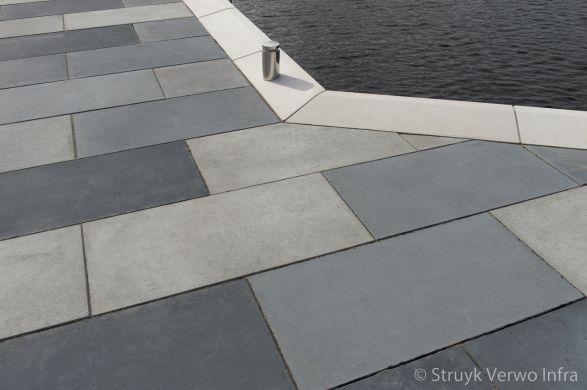 Herinrichting Rijnhavenkade Alphen aan den Rijn|kademuur met vloerplaten|lappendeken