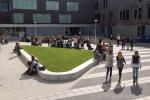 Groenomranding door betonnen banden|sportpark de Thij|groenplinten beton