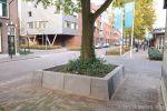 Boombescherming in de Kapelaanstraat in Gemert|plantvakken beton|parkbanden