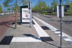 Bushalte met geleidelijnen CROW|geleidelijntegel|rubbertegel met noppen|HOV-band