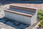 Betonnen zitelement met rug en houten zitting