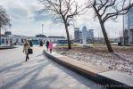 Betonnen parkbanden met houten zitting|betonnen zitranden