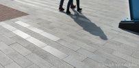 Winkelcentrum Alexandrium|strokenpatroon|geslepen bestrating|liscio|gekogelstraalde bestrating|sferio|grigio argento