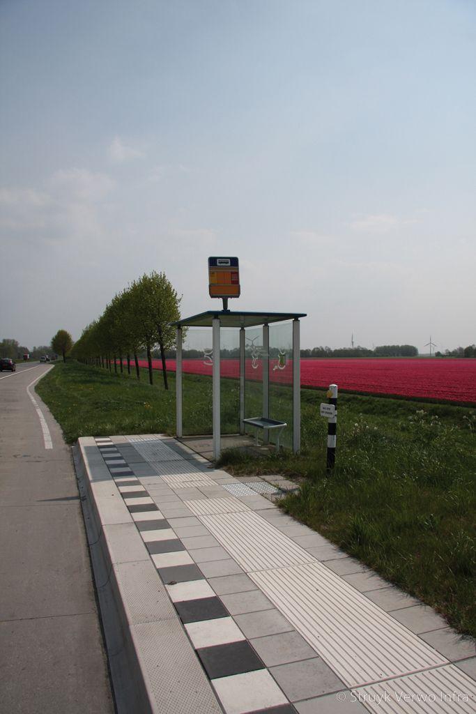 Bushaltes provincie flevoland lasersweg lelystad inrichting bushaltes mammoettegel