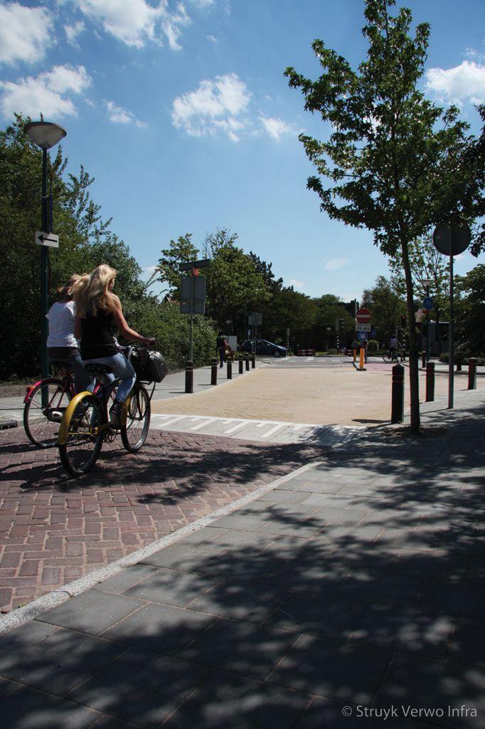 Verkeersplateau eenrichtingsverkeer kruising trottoir