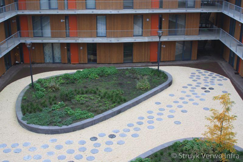 Bloembakband beton binnentuin wooncomplex parkbanden beton