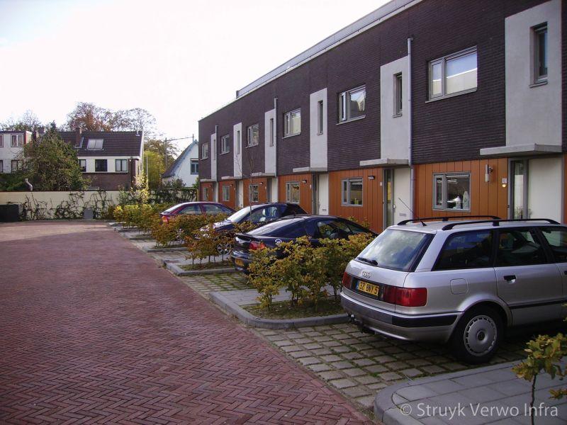 Parkeerplaats voor woning met groenbestrating klimaatadaptieve bestrating