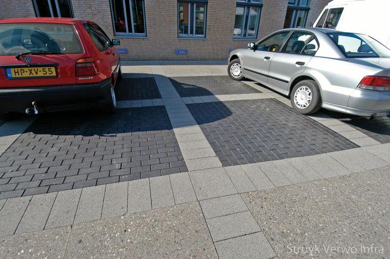 Parkeervakken in zwarte bestrating uitgevoerd