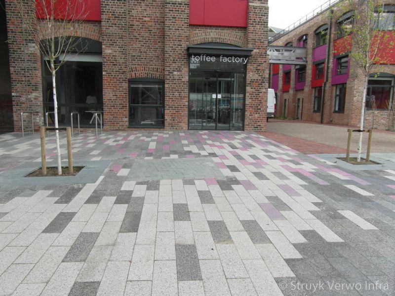 Uitgewassen bestrating gemixed in 3 kleuren uitgewassen straatstenen uitgewassen betonstenen
