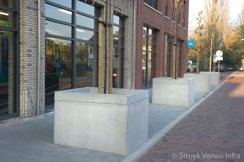 Betonnen boombak 140x140 osdorp rij boombakken op de stoep plantenbak beton