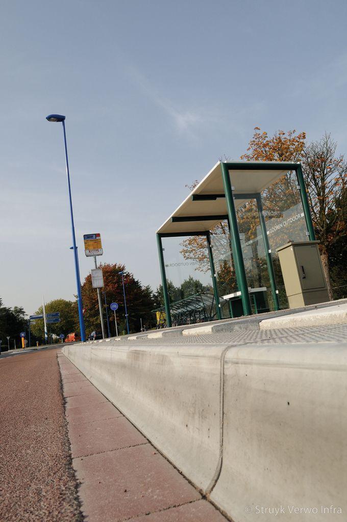 Profiel bushalteband aansluiting busbaanband met wegdek