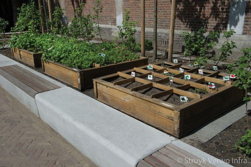 Parkbanden schout heinrichplein rotterdam kruidentuin groen verbindt banken van beton keerelementen beton