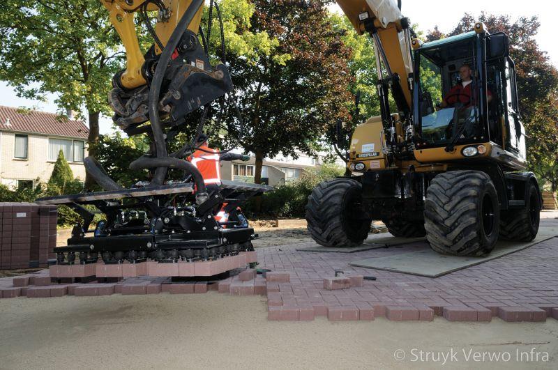 Vacuum verleggen betonstraatstenen