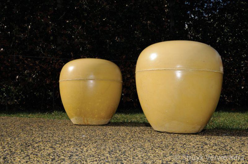 Sierbolder rond 45 geel poef beton