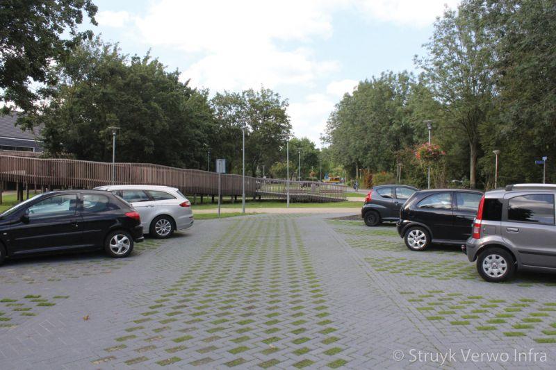 Bestrating met gras greenbrick inrichting parkeerterrein