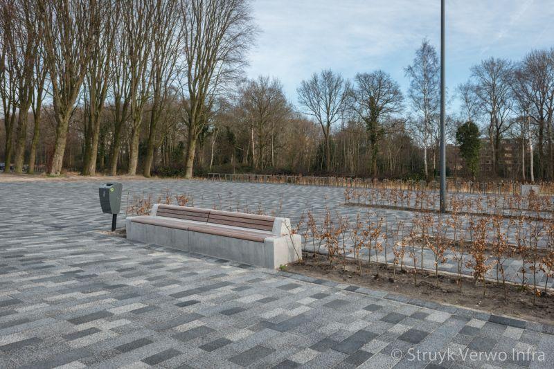 Seat zitelement betonnen zitelement met houten zitting betonnen parkmeubilair